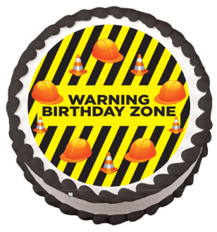 Birthday Construction Zone Edible Frosting Sheet Photo Image Cake Topper