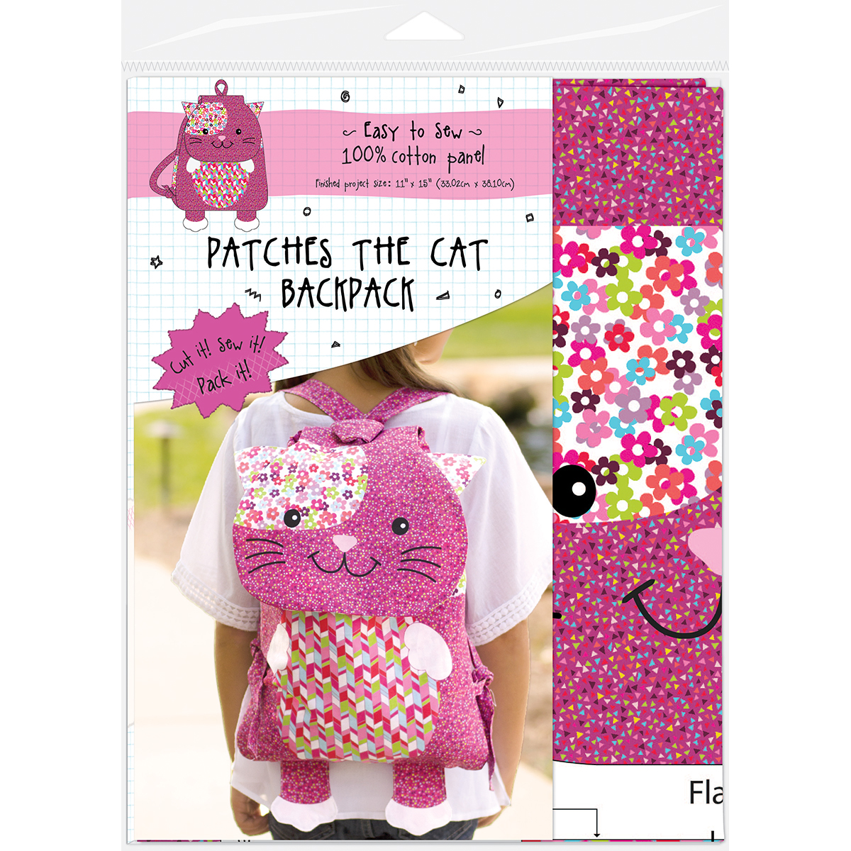 Patches The Cat Animal Backpack On Preprinted Fabric-