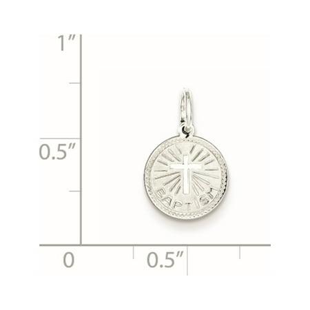 925 Sterling Silver Baptism Disc (10x15mm) Pendant / Charm - image 2 de 2