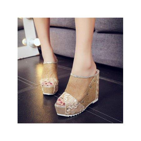 Women's Mesh High Heel Shoes Ladies Summer Wedge TOE Sandals Flip