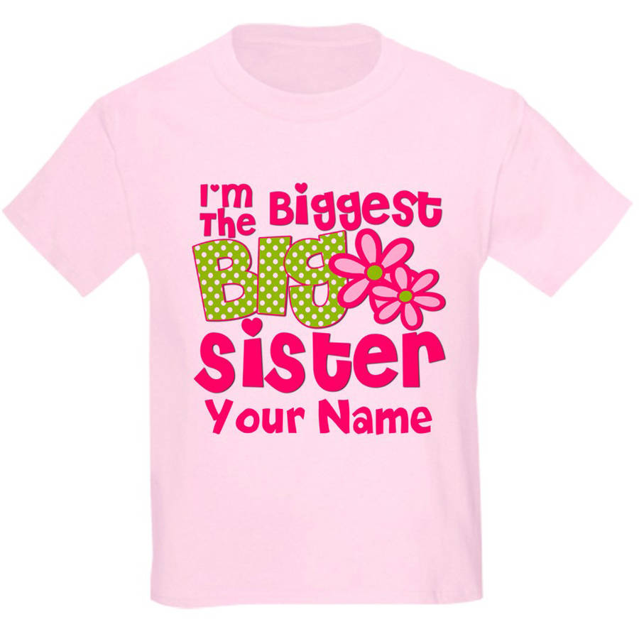 Cafepress Personalized Biggest Big Sister Pink Green T-Shirt