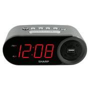 SHARP Digital Alarm Clock with Loud & Soft Alarm Volume Control & 2 AMP USB Charge Port