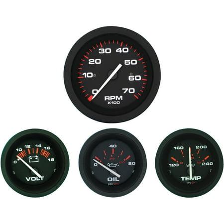- Sierra 69722P Amega Series Black Inboard 4 Set with Tachometer, Voltmeter, Oil Pressure and Water Temperature Gauges