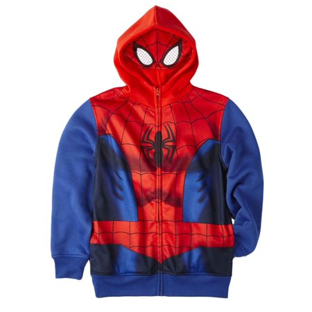 Marvel Boys Ultimate Spider-Man Zip-Up Muscle Costume Masked Hoodie