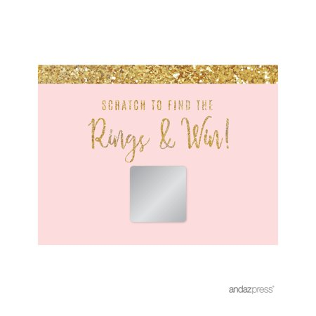 Blush Pink Gold Glitter Print Wedding Bridal Shower Game Scratch Cards, - Couple Wedding Shower Games