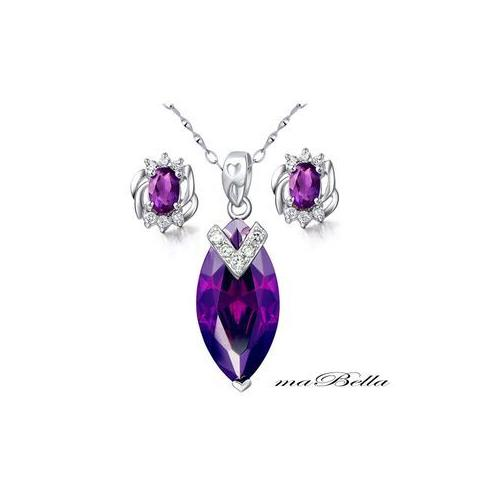 Mabella Womens Sterling Silver Marquise Cut Created Amethyst 7.96 cttw Pendant and Earring Set  - VC-SPE005CA