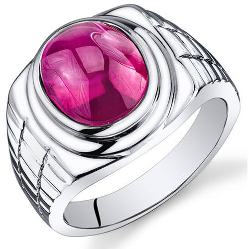 Oravo 8.00 Carat T.G.W. Men's Created Ruby Rhodium-Plated Sterling Silver Engagement Ring
