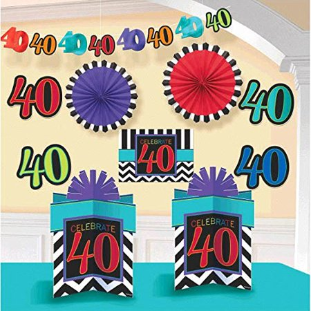 Must Have Chevron And Stripes 40th Birthday Party Assorted Room Decorating Kit Pack Of