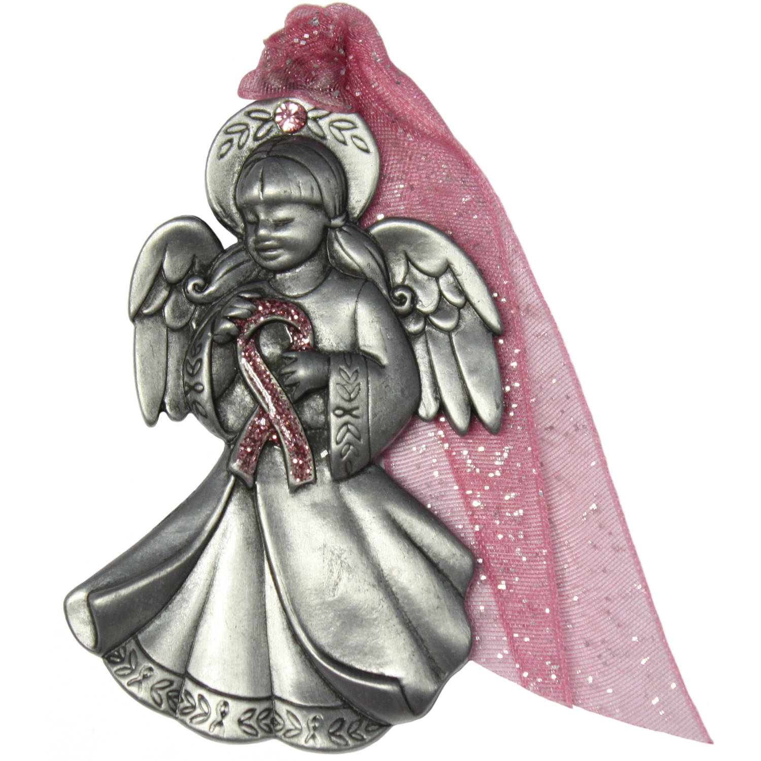 Gloria Duchin Breast Cancer Awareness Pink Ribbon Angel Ornament