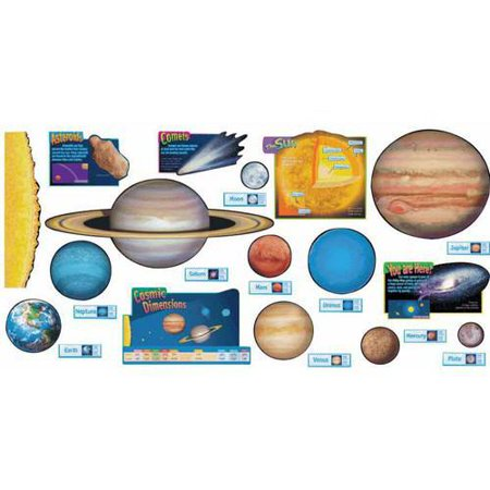 Trend Enterprises Solar System Design Room Decoration Bulletin Board Set - Solar System Decorations
