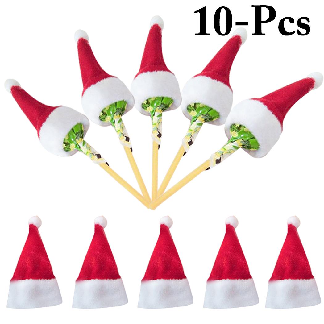 Coxeer 10PCS Mini Christmas Hats Mini Santa Claus Hats Christmas Party Supplies Decor for Lollipop Cover