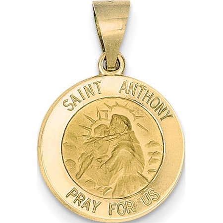 Leslies Fine Jewelry Designer 14k Yellow Gold Polished and Satin St. Anthony Medal (15x17mm) Pendant Gift