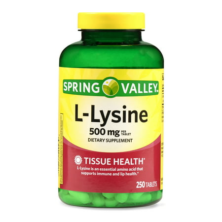 Lysine 500 Mg 100 Tablets (Spring Valley L-Lysine Tablets, 500 mg, 250)
