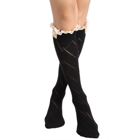 Avidlove Women Sexy Bow Boot Socks Lace Crochet Boot Long Socks Leg Warmer