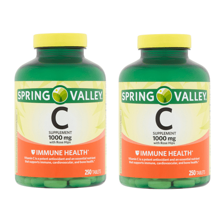Spring Valley Vitamin C Tablets, 1000 mg, 250 Ct, 2 Pk