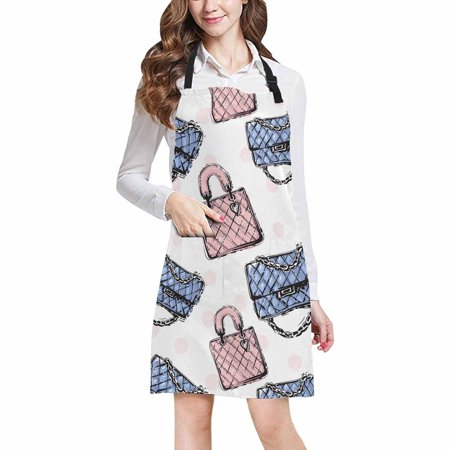 HATIART Girly Glamour Fashion Clutch and Leather Handbag Home Kitchen Apron for Women Men with Pockets, Unisex Adjustable Bib Apron for Cooking Baking Gardening - image 1 de 2