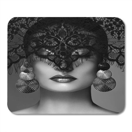 LADDKE Luxury Woman with Celebrate Makeup Silver Earrings Black Dramatic Lace Veil Halloween Witch Look Mousepad Mouse Pad Mouse Mat 9x10 inch