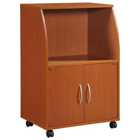 Hodedah Modern Wooden Microwave Kitchen Cart in Cherry Finish