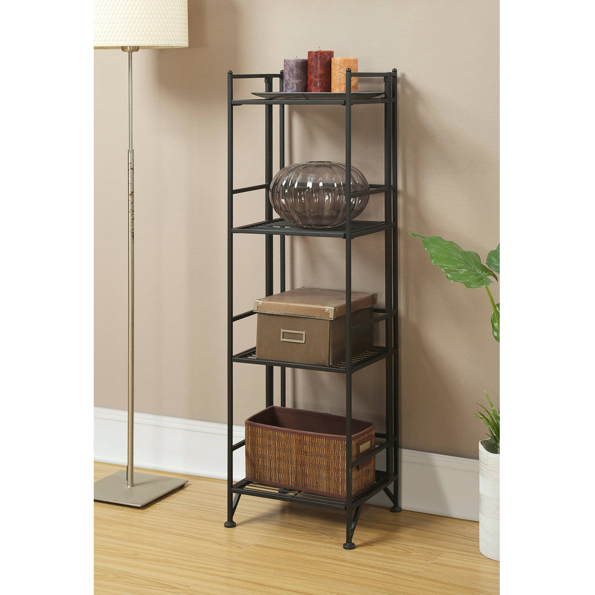 convenience concepts designs2go metal folding 4 shelf bookcase multiple finishes
