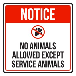 Notice No Animals Allowed Except Service Animals Disability Business Commercial Safety Warning Square Sign - 9x9