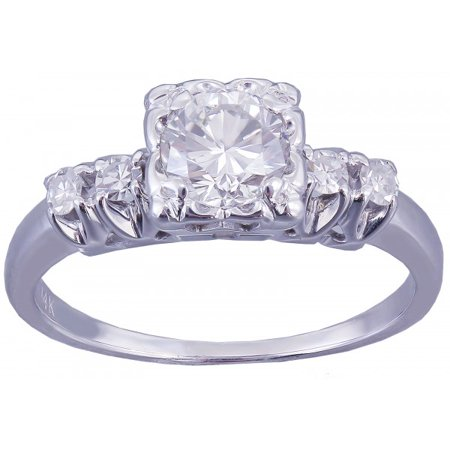 Art Deco Diamond Engagement Ring - 14k White Gold Round Cut Diamond Engagement Ring Art Deco Antique 0.82ctw H-VS2 EGL USA