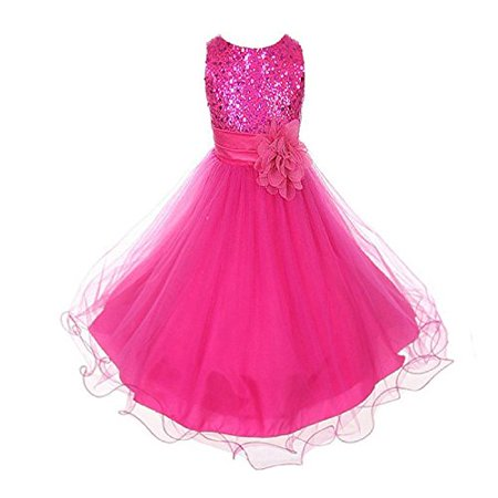 22daa6d0fa Kids Dream - Sparkly Sequined Mesh Flower Girls Dress Pageant ...