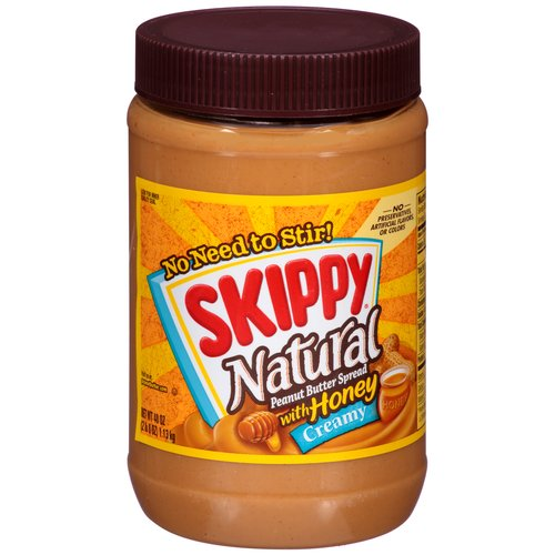 Skippy Natural Creamy Peanut Butter Spread with Honey, 40 oz