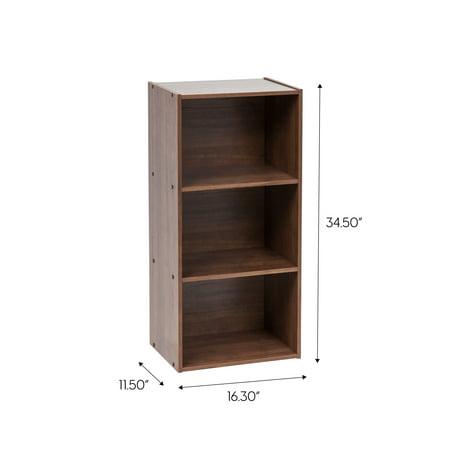IRIS USA 3-Tier Basic Wood Bookcase Storage Shelf, Dark Brown
