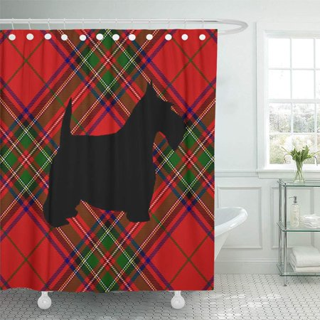 CYNLON Scottie Dog Bathroom Decor Bath Shower Curtain 66x72 inch