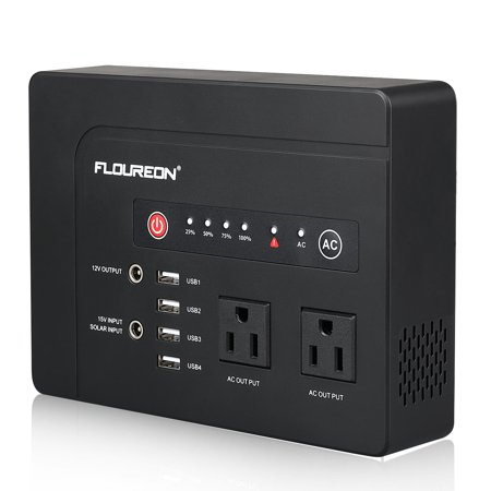 FLOUREON 42000mah Portable Power Station Emergency External Battery Pack Generator Backup, 200W(Max) 120V 2 AC Outlets/4 USB Ports/Solar Input, Power Bank for MacBook Laptop Camera Cellphone and Some Kensington Power Port