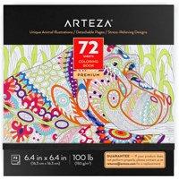 ARTEZA Coloring Book, Animal Illustrations, 72 sheets