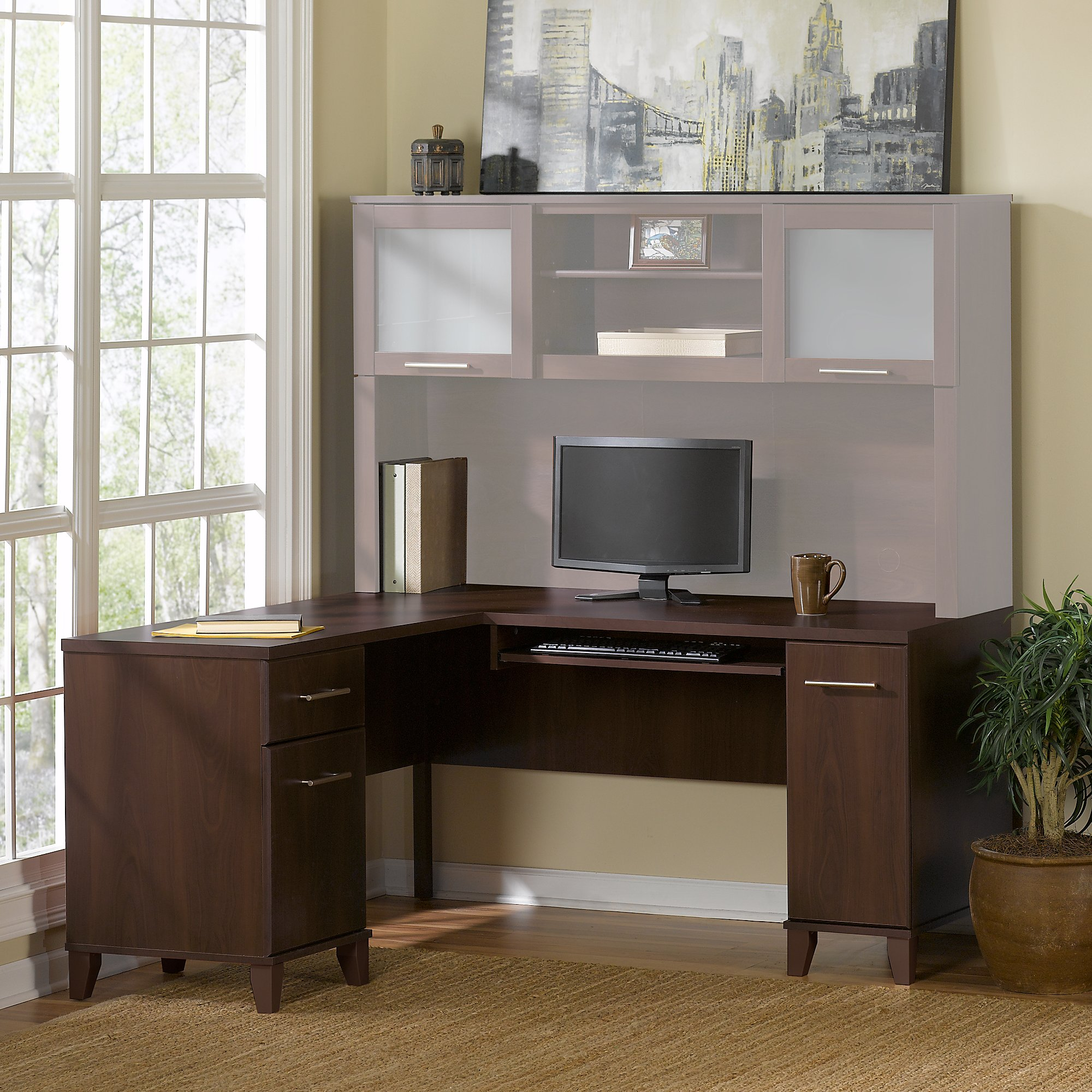 Bush Furniture Somerset 60W L Shaped Desk In Mocha Cherry