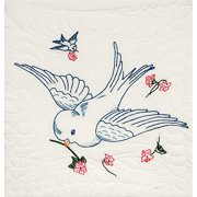 "Stamped Quilt Blocks, 18"" x 18"", 6pk, Wedding Dove with Quilting Marks"