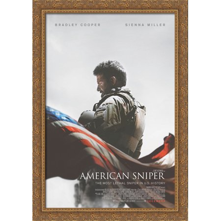 American Sniper 28x40 Large Gold Ornate Wood Framed Canvas Movie Poster Art