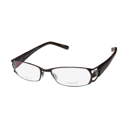 New Urband Affinity Mens/Womens Designer Full-Rim Titanium Brown Titanium Trendy Made In Japan Frame Demo Lenses 52-17-0 (Trendy Eyeglasses For Men)