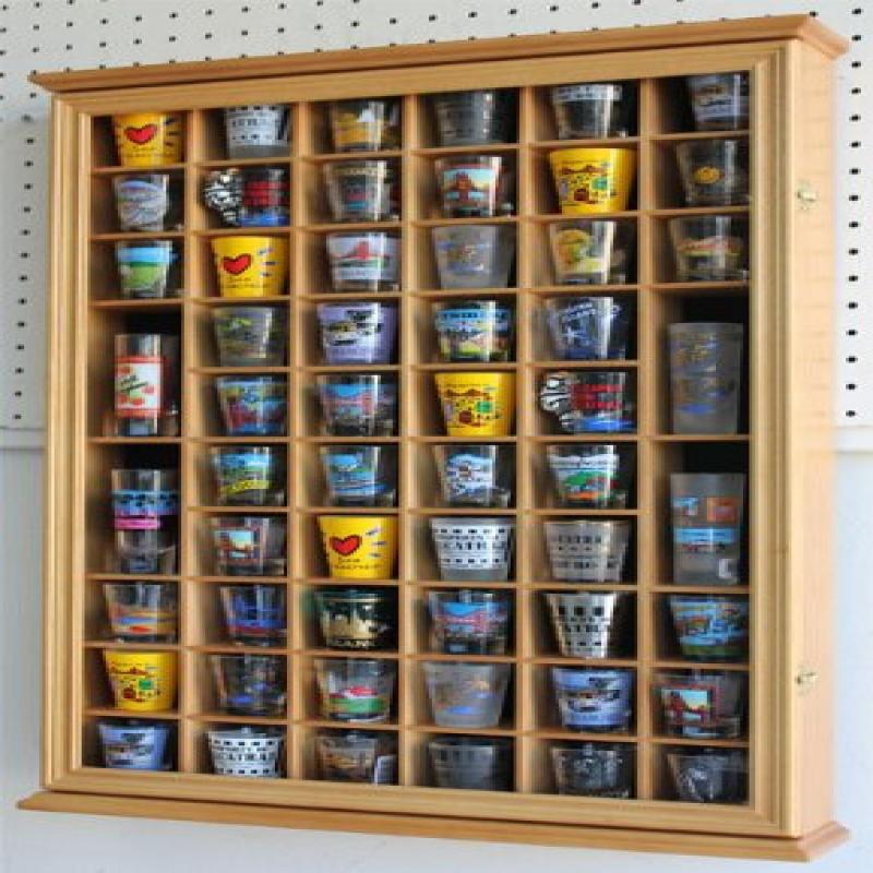 56 Shot Glass Shooter Display Case Holder Cabinet Wall Rack w Glass Door (SC56-OA) by DisplayGifts.com - Factory Direct