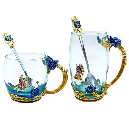 Reactionnx Glass Tea Cup, Lead Free Handmade Enamel Butterfly and Blue Rose Flower Tea Mug with Handle, Unique Personalized Birthday Gift Ideas for Women Grandma Mom Female Friend ()