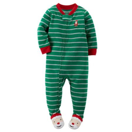 6d14ebdad Carters - Carters Infant   Toddler Boys Green Fleece Christmas Sleep ...