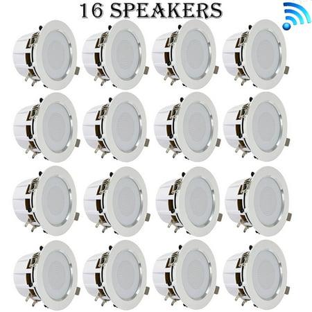Pyle 4-Inch Bluetooth Ceiling / Wall Speaker Kit - (16) Aluminum ...