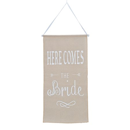 Fun Express - Here Comes The Bride Linen Banner for Wedding - Party Decor - Hanging Decor - Misc Hanging Decor - Wedding - 1 Piece](Here Comes The Bride Banner)