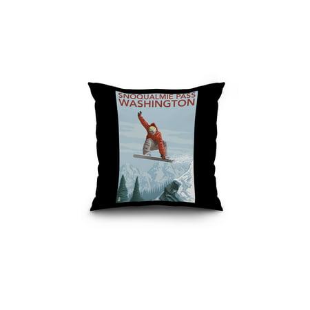 Snowboarder Jumping   Snoqualmie Pass  Washington   Lantern Press Poster  16X16 Spun Polyester Pillow  Black Border