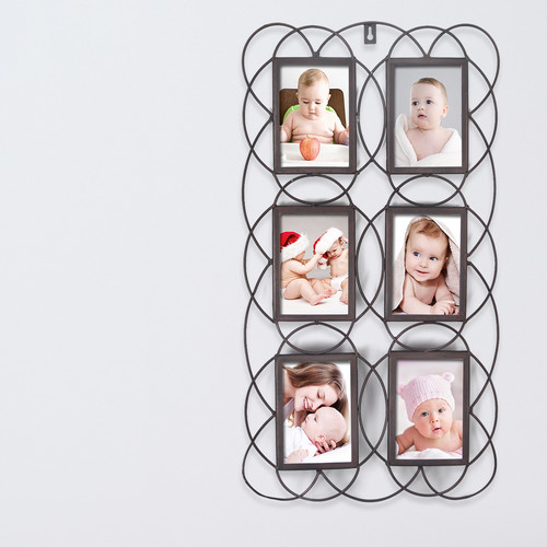 Adeco Trading 6 Opening Decorative Iron Metal Wall Hanging Collage Picture Frame