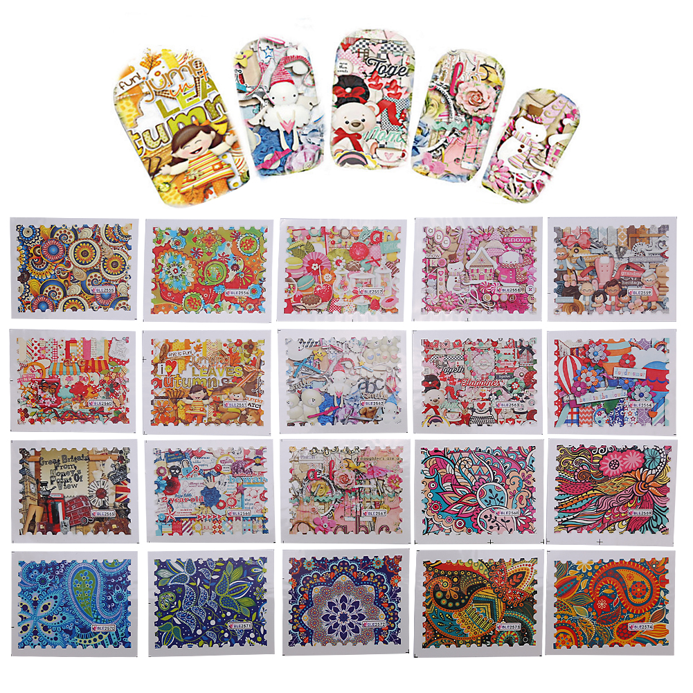 44Pcs/Set Nail Art Decal Flower Sticker Water Transfer Manicure Accessory Decoration, Nail Sticker, Nail Art Decal