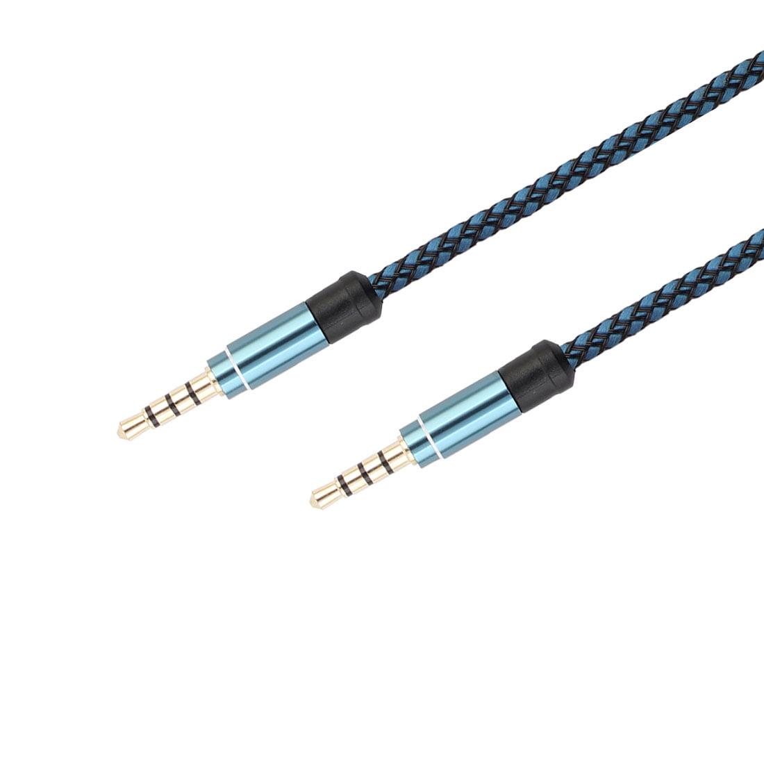 Unique BargainsMP3 Player Nylon Anti-Friction 3.5mm Male to Male Aux Cord Audio Cable Blue - image 4 de 5