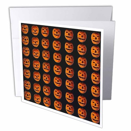 3dRose Vintage Halloween Jack o Lanterns Pattern, Greeting Cards, 6 x 6 inches, set of 12](Halloween Jack O Lanterns Pattern)
