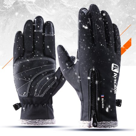 Unisex Touch Screen Cycling Gloves Winter Cold Weather Waterproof Thickness Warm Fleece Inner Zippered Adjustable Full Finger Gloves For Ski Snowboard Bike Running