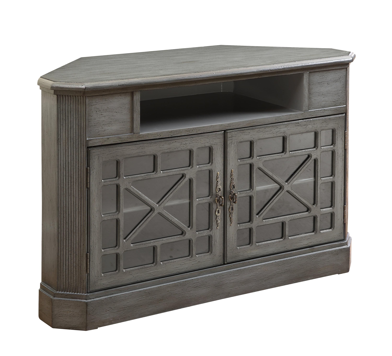 Joplin Texture Grey Two Door Corner Media Cabinet