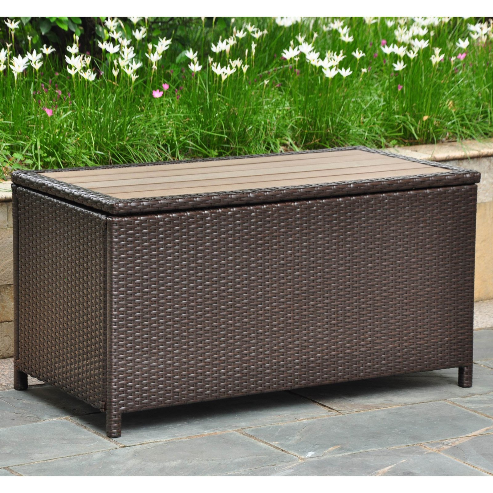 International Caravan Barcelona 42 In Resin Wicker 80 Gallon Outdoor Storage Trunk