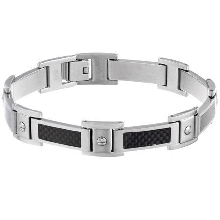 Metro Jewelry Stainless Steel and Carbon Bracelet Metal: Stainless steelStyle: LinkFinish: High polish