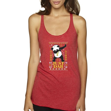 New Way 602 - Women's Tank-Top Just Dab Panda Christmas Ugly XS Red